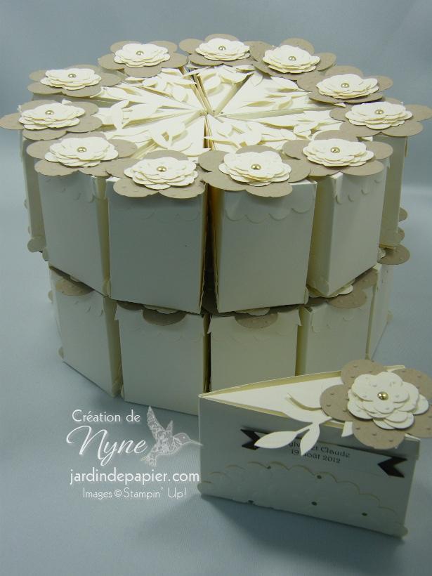 Gâteau mariage, bonbonnières, jardin de papier. Stampin'UP