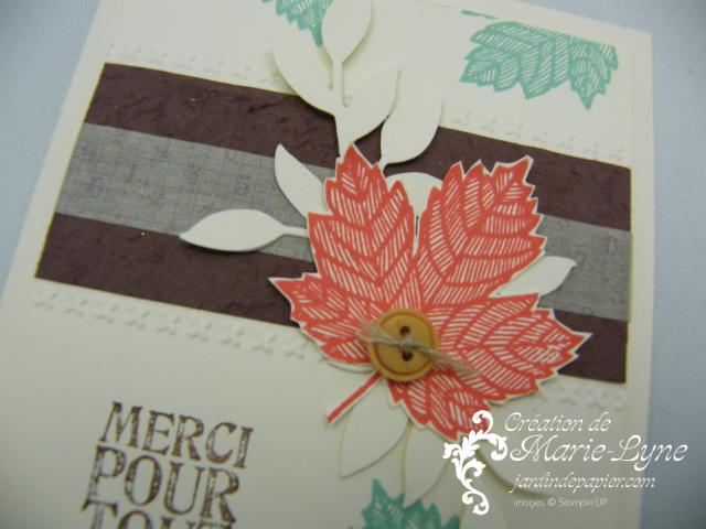 fleurs en papier, Stampin'UP!, faux cuir, jardin de papier, Magnificent Mapple