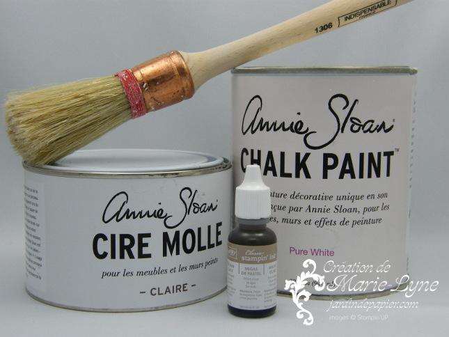 Peinture à la craie, Annie Sloan, cire, encre classic Stampin'UP!, Jardin de papier