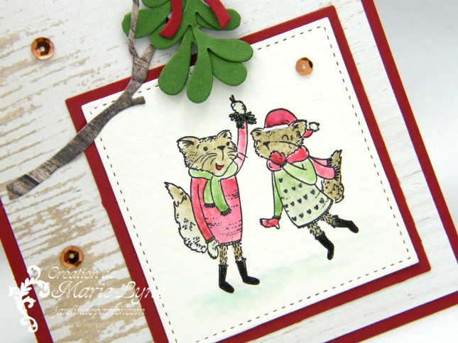 Carte de Noël avec Mistletoe Friends